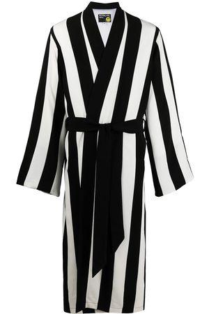 DUOltd Men Bathrobes - Vertical-stripe belted wool robe