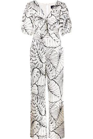 Marchesa Notte Leaf-print jumpsuit - Neutrals