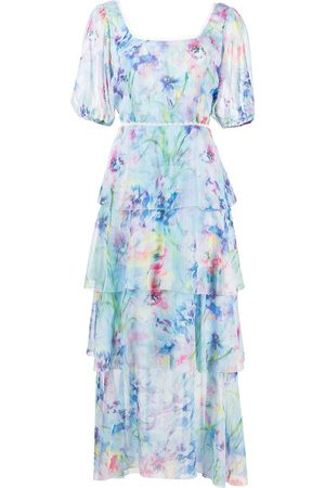Marchesa Notte Puff sleeve tiered dress - Multicolour