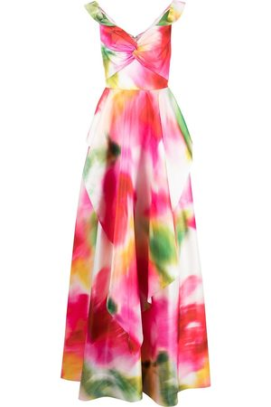 Marchesa Notte Abstract-print off-shoulder dress - Multicolour