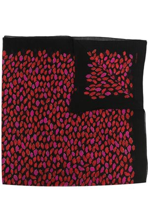 Saint Laurent Lip print wool scarf