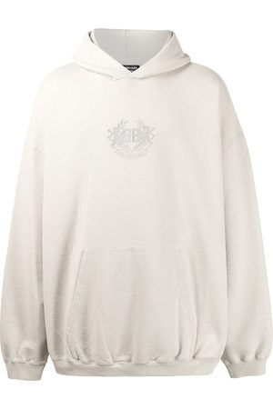 Balenciaga Logo-embroidered oversize hoodie - Grey