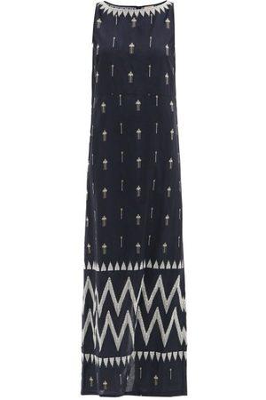 LE SIRENUSE, POSITANO Aratena Floral-embroidered Cotton-poplin Dress - Womens - Navy