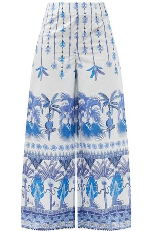 LE SIRENUSE, POSITANO Stephan Winter Garden-print Cotton Wide Trousers - Womens - Print