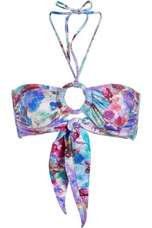 PATBO Blossom-print bandeau bikini top