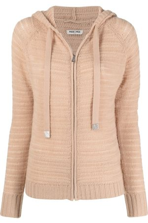 MAX & MOI Ribbed-knit cashmere hoodie - Neutrals