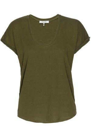 Frame Easy Scoop-neck Organic-linen T-shirt - Womens - Khaki