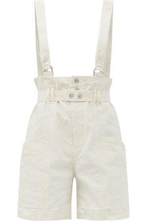 Isabel Marant Effie Linen-blend Dungaree Shorts - Womens - Ivory