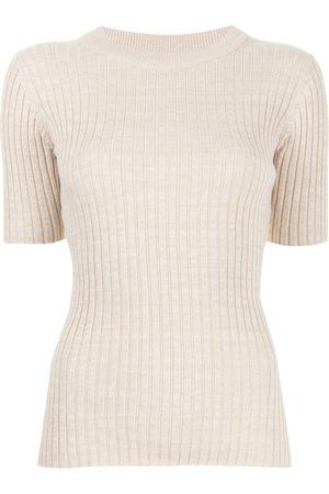 Anna Quan Ribbed cotton T-shirt - Neutrals