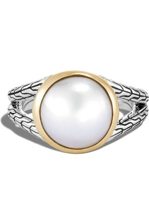 John Hardy Women Rings - 18kt yellow gold and sterling Classic chain hammered pearl ring