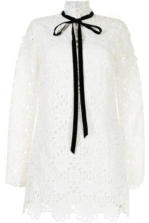 Macgraw Embroidered tied-neck minidress
