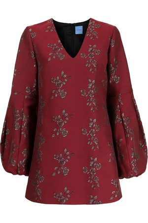 Macgraw Jacquard rose-embroidery minidress