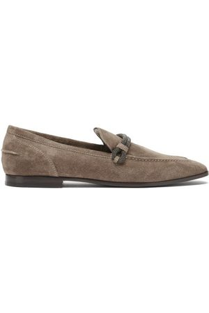 Brunello Cucinelli Women Loafers - Monili-chain Suede Loafers - Womens