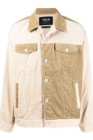 FIVE CM Panelled button-up corduroy jacket