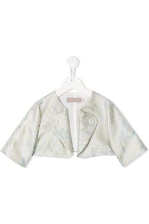 LA STUPENDERIA Magda floral jacquard cropped jacket - Neutrals