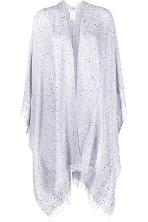 Brunello Cucinelli Sequin-embellished fringed cape - Grey