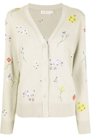 Tory Burch Floral-embroidered knitted cardigan