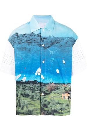 Off-Duty MR. TRIANGLE landscape print T-shirt