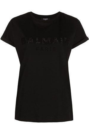Balmain Rhinestone-logo T-shirt - EAP NOIR