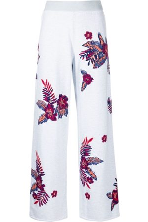 Barrie Wide-leg floral trousers