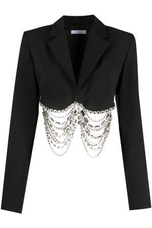 AREA Crystal fringe cropped jacket