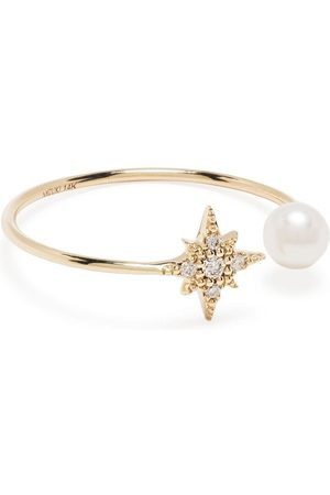 Mizuki 14kt yellow freshwater pearl and star diamond ring