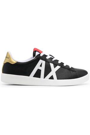 Armani Appliqué-logo perforated sneakers