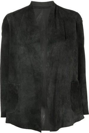 SALVATORE SANTORO Suede V-neck blazer - Grey