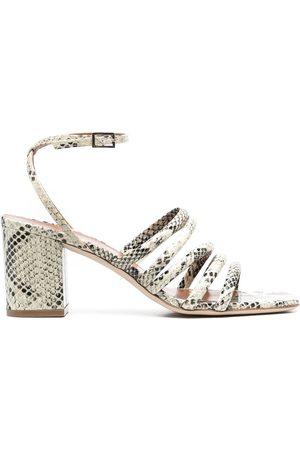 PARIS TEXAS Women Heeled Sandals - Snakeskin-effect mid-heel sandals - Neutrals