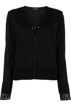 GOEN.J Lace-panelled V-neck cardigan