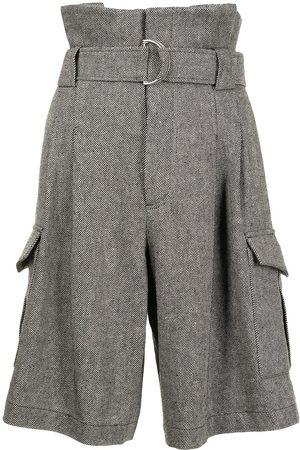 GOEN.J Women Bermudas - Belted paperbag-waist bermuda shorts - Grey