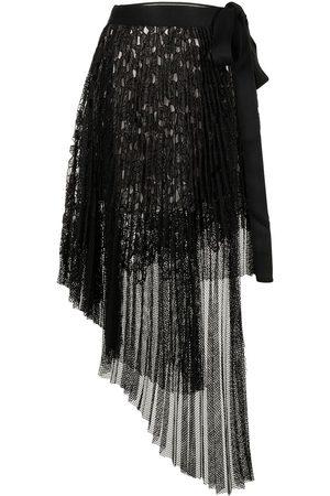 GOEN.J Asymmetric-pleated lace wrap-skirt