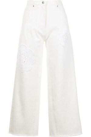 GOEN.J Crochet-trimmed wide-leg jeans