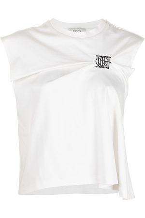 GOEN.J Logo-embroidered tuck-pleated top