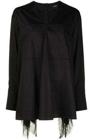 GOEN.J Lace-trim V-neck cotton shirt