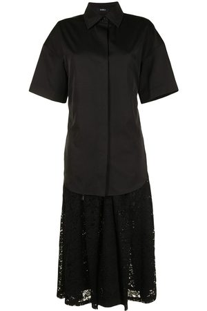 GOEN.J Shirt-layered pleated-lace dress