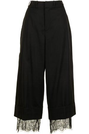 GOEN.J Women Pants - Cropped lace-trim trousers