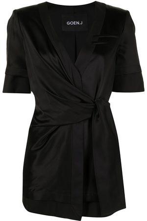 GOEN.J Women Blazers - Inside-out short wrap-blazer