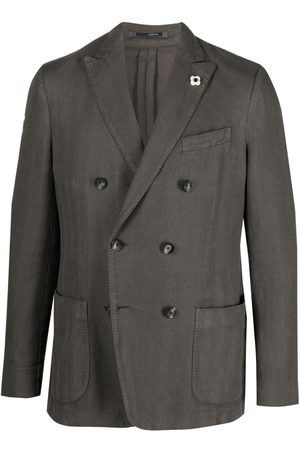 LARDINI Fitted double-breasted jacket - Grey