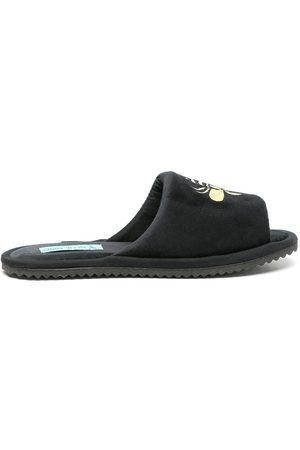 Blue Bird Bee motif velvet slippers