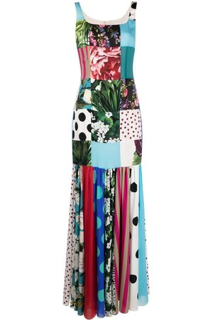 Dolce & Gabbana Patchwork charmeuse and georgette dress