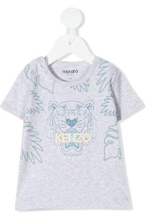 Kenzo T-shirts - Tiger logo-print T-shirt - Grey