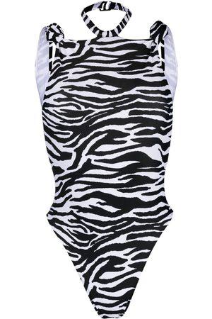 The Attico Zebra-print halterneck swimsuit