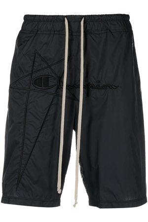 Rick Owens Men Sports Shorts - Logo-embroidered drawstring shorts