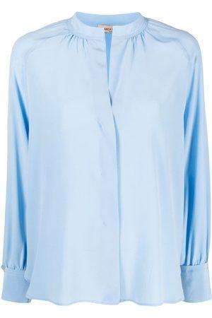 BLANCA Band-collar silk shirt