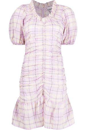 Ganni Check-print seersucker minidress