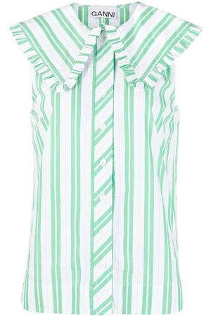 Ganni Oversize collar striped sleeveless shirt