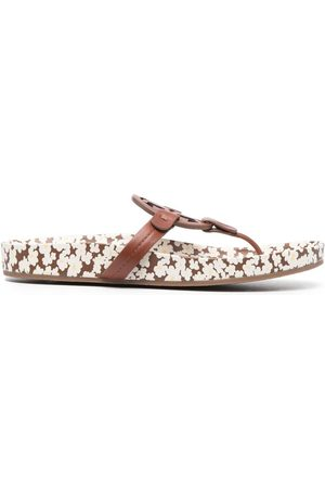 Tory Burch Floral-print leather sandals