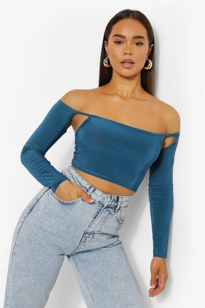 Boohoo Womens Off Shoulder Slinky Crop Top - - 2