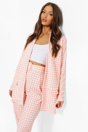 Boohoo Womens Gingham Blazer & Self Fabric Belted Pants - - 4